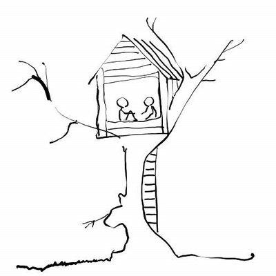 Simple Tree House Drawing A tree house, a free house,